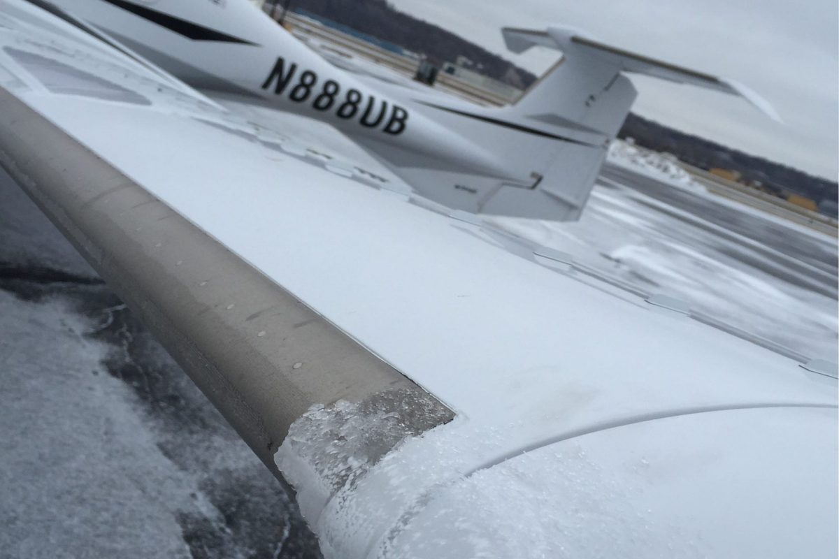 Diamond DA42 angled image of leading edge with TKS after flight showing it clear of ice