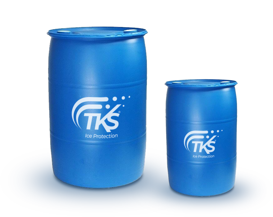 Two barrels of TKS fluid of different sizes
